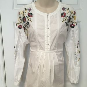 Loft maternity boho embroidered flower blouse L